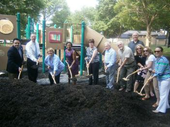 City and state leaders broke ground at the Michael Joyce Memorial Playground in South Boston's Marine Park on Tuesday. 	Photo courtesy DCR