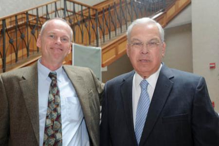 St. Mark's Area Main Street's mainstay to step down: Dan Larner, left, is shown with Mayor Tom Menino at the Dorchester Board of Trade luncheon on Tuesday. 	Photo courtesy Don Harney/Mayor's Office
