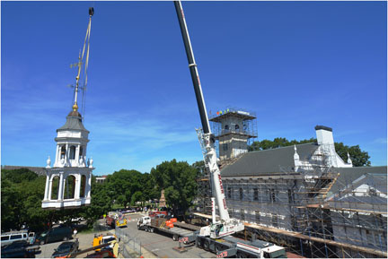 Lift-off of the new First Parish steeple in August 2013.