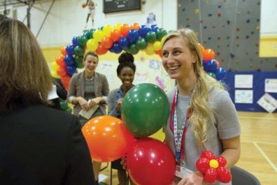 Murphy School teacher Laura Henry was the guest of honor at a school assembly on Nov. 11. 	Photo courtesy Google Impact Challenge