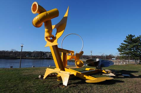 "Mark di Suvero's sculpture ""Sunflowers for Vincent"" is the latest public art added to UMass-Boston's Arts on the Point collection. The 7-ton piece was installed on the Columbia point campus on December 15."