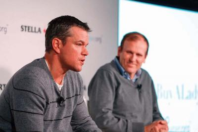 Water.org co-founders Matt Damon and Gary White participated in a panel session hosted by Stella Artois on Jan. 23 in Park City, Utah, regarding the current global water crisis. Rick Kern photo/Getty Images for Stella Artois