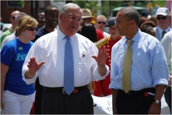 Mayor Tom Menino chatted with Gov. Deval Patrick at the start of the Dorchester Day Parade in 2010. Photo by Chris Lovett