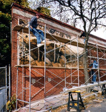 "Savin Hill Mural: Packy McDonough and Paul Brancone installed the ""Savin Hill 500 Years Ago"" mural in November 1999. The mural has recently been restored by artist James Hobin.  Photo courtesy James Hobin"