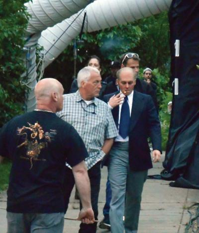 "'Whitey sighting': Actor Johnny Depp – dressed as mob boss James 'Whitey' Bulger – was photographed as he exited a Roslin Street home last week. Depp and other actors were filming scenes for the film ""Black Mass."""