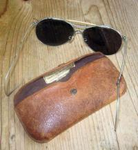The sunglasses and case shown above were found near the wing section of a B17 that was downed by German fire in Holland on July 28, 1943. Two Dorchester airmen were aboard the plane that day and a Netherlands man is looking for information about them for a memorial he is planning to place at the site. Photo courtesy of Johan Collee