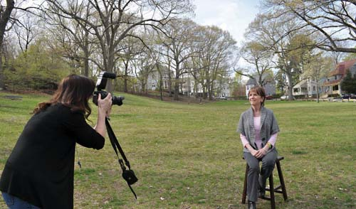 SAVIN HILL SHOOT: Tracy King photographed her mother Pam King in Savin Hill Park this week. Photo by Bill Forry