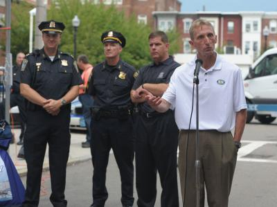 BPD Commissioner William Evans, right, wants a 'methodical' approach to body cameras. Photo courtesy Mayor's Office