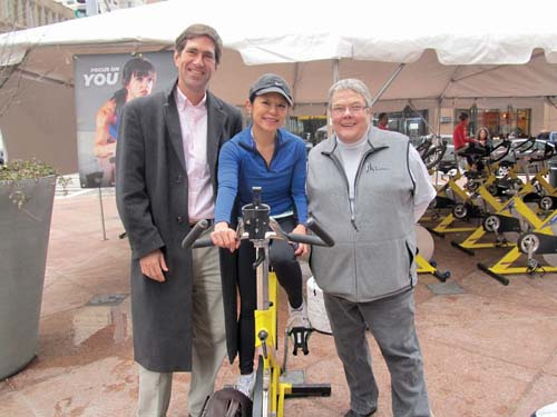 HomeStart: Board Chair Ed Frechette, Janet Wu of WHDH Ch. 7, and HomeStart's President/CEO Linda Wood-Boyle at the recent ICycle fundraiser.