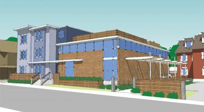 Epiphany: A rendering of the proposed Epiphany School building, shown adjacent to an existing historic building at 232 Centre St.