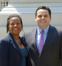 State Reps. Linda Dorcena Forry and Nick Collins, former rivals who faced off in the April 30 Democratic primary, lunched on Beacon Hill this week, ahead of the general election to replace Jack Hart. Photo courtesy Dorcena Forry's office.