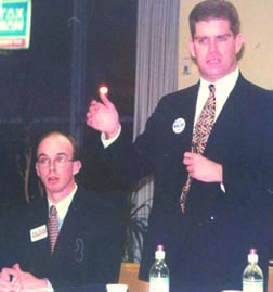 Candidate Martin J. Walsh in 1997: In a debate during the special election for 13th Suffolk state representative. Next to Walsh is candidate Jim Hunt III. Photo by Bill Forry