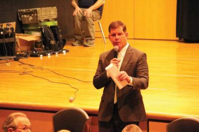Mayor Martin Walsh spoke during a 'Mondays with the Mayor' forum at Mildred Ave. school on Dec. 7. 	Caleb Nelson photo