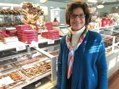 Mary Ann Nagle supervises her family's chocolate business at Morrissey Boulevard's famed Phillips Candy House.  Jennifer Smith photo
