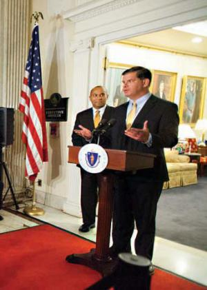Mayor-elect Walsh and Gov. Patrick outside the governor's office on Monday. Governor's Office photo