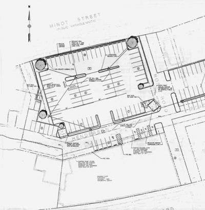 Parking lot re-design: An architect's drawing shows proposed changes to the parking lot owned by Supreme Realty Company in Adams Corner. At top left, the north-west corner of the present-day lot would be closed to Minot Street under this plan.  Image courtesy Supreme Realty Com