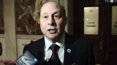 Senate President Stanley Rosenberg speaks to the media after rolling out a number of key Senate leadership positions on Jan. 21. Photo courtesy State House News Service