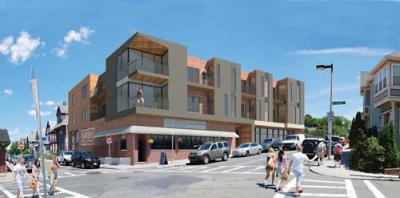 Savin Hill Ave. project: Architect's rendering showed proposed condos over Savin Bar + Kitchen. Drawing courtesy RODE Architects.