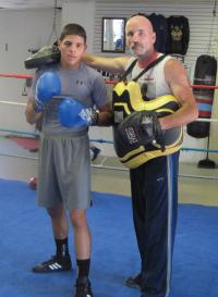 Jose Terrato, left, with trainer Brian Powers.                                                 Photo by Jacob Aguiar