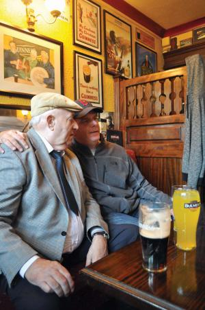 Clifden Confidential: Mayor Walsh made a surprise appearance at Lowry's Pub in Clifden, Co., Galway, on Saturday, where he had a chat with 75-year-old Henry Kenneally. Bill Forry photo