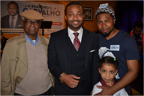 Winning candidate: Evandro Carvalho is pictured with his grandfather, Cecilio Correia (left), Edson Soares-DaRosa (right) and Destiny Pires. at Restaurante Cesaria. Photo by Chris Lovett