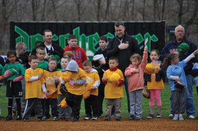 Cedar Grove Baseball players and coaches at last season's opening ceremonies at Victory Road Park. Photo by Bill Forry
