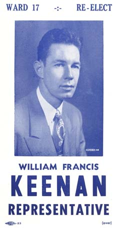 Rep. Keenan: A poll card from 1958. Courtesy Keenan family