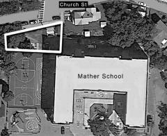 Mather School project: The plan for the Mather School property, showing location of proposed Green Space improvements (outlined in white at upper left).