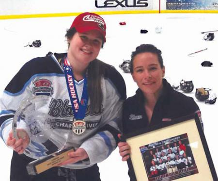 National champs: Seventeen year-old Brenna Galvin, left, scored the national championship goal for the Charles River Blazers, coached by her Dot neighbor, Kerri Doolin. Photo by Craig Galvin