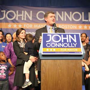 City Councillor At-Large John Connolly celebrates with supporters at Hibernian Hall in Roxbury. Photo courtesy Connolly campaign