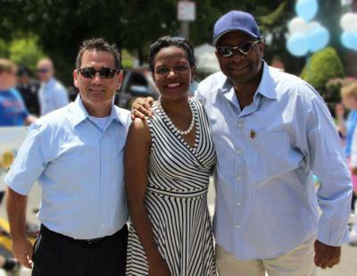 Sheriff Steven F. Tompkins, right, snared two more high-profile endorsements this week from City Councillor Frank Baker, left, and State Senator Linda Dorcena Forry.
