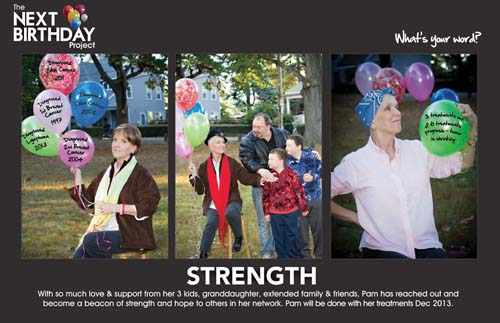STRENGTH: Pam King's photos- taken by her daughter Tracy- were the inspiration for a new campaign called the Next Birthday Project. The balloons- in the left panel- symbolize each of the five cancers that King has faced and beaten.