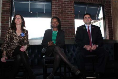 Senate primary on Tuesday: Democratic candidates Maureen Dahill, Linda Dorcena Forry, and Nick Collins at Monday's DotOUT forum in Savin Hill. Mike Deehan photo