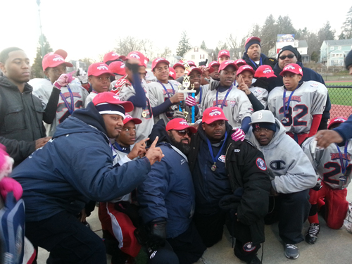 Dorchester Pop Warner team headed for Super Bowl: The Dorchester Pop Warner Junior Midget team of 12- and 13-year-old players won the regional championship last weekend by defeating the Hartford Hurricanes. The team will travel to Orlando, Florida this weekend to play in the national Pop Warner Super Bowl tournament. The league is seeking help from Dorchester residents and businesses to help defray the costs of the trip. Photo courtesy Jean Felix