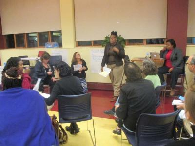 "Sholonda Antrum of Coleman Street in Dorchester spoke about her experience with enrolling her children in school at last Thursday's meeting at the Kroc Center. Of the proposed unified enrollment plan, Antrum says: ""This will work for us."" 	Maddie Kilgannon photo"