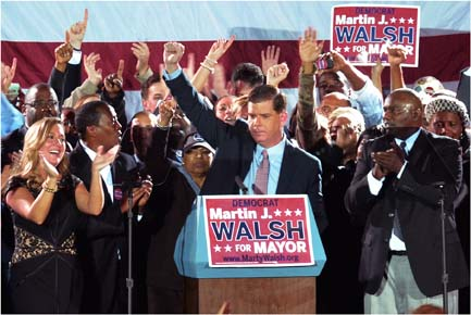 Mayor-elect Martin J. Walsh celebrated his victory on Tuesday night at the Park Plaza.: Photo by Chris Lovett