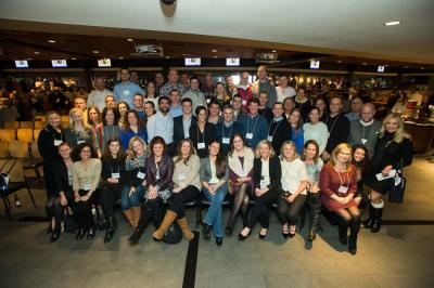 Team MR8 2016: Members of the 2016 Boston Marathon Team MR8 gathered for a photo at Fenway Park's EMC Club on Thurs., Jan. 14.  Photo Copyright Mike Ritter, ritterbin.com