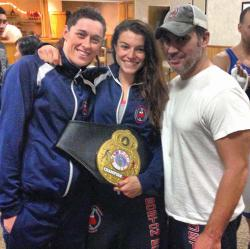 Michelle Egan, center, is pictured with her training partner Shelly Walsh and trainer Ed LaVache. Photo courtesy Michelle Egan