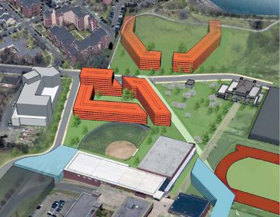 "Dorms of the Future: UMass Boston's 25 year master plan, published in 2009, identifies two sites near the juncture of Mt. Vernon Street and University Driveas a ""preferred location"" for the first phase of on-campus housing for students. The potential dorms are highlighted (above) in orange."