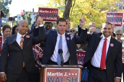 Team of Rivals: John Barros, left, and City Councillor Felix Arroyo, right, endorsed State Rep. Marty Walsh's candidacy for mayor of Boston during a press conference in Egleston Square on Tuesday morning. Photo by Paul Marotta