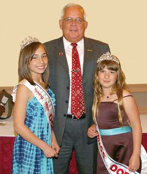 Dot Day 2010: Parade Chief Marshall Joe Zinck with Young Miss Dorchester Sophie Pacitti Philips, left, and Michelle Levinger, this year's Little Miss Dorchester.