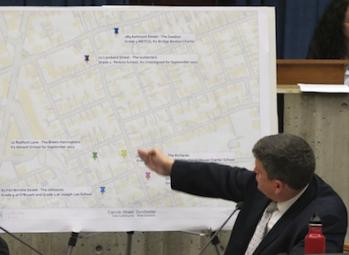 One neighborhood, nine schools: Councillor John Connolly referred to a map that detailed the locations and schools of parents in the Carruth Street area during a hearing on Tuesday.