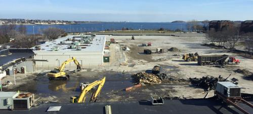 Bayside Expo site nearly cleared on Columbia Point: The Boston Teachers Union building on Mt. Vernon St. (shown at left) stands next to what was once the Bayside Expo Center.