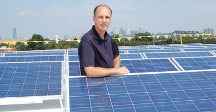 BC High Solar Panels: BC High's Brian Maher with the school's new solar panels.