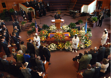 Tribute to Bolling: The city and state's political leadership packed the Morningstar Baptist Church on Sept. 17 for the funeral of former Boston City Council President Bruce Bolling, who died on Sept. 11. Photo by Don West