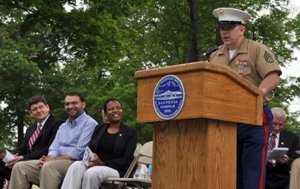 Staff Sgt. Terrence (Shane) Burke speaks at Memorial Day ceremony on May 30, 2011
