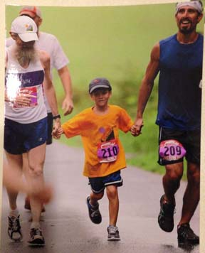 Jose Calderon: Shown, right, running a 5k with his son Tomas and father-in-law Jim Austin.