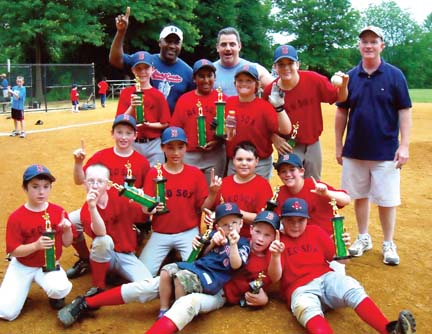 Red Sox champs in Cedar Grove: The Red Sox celebrate their championship win in the Cedar Grove Baseball League's major division last Friday, June 26. Photo courtesy Melissa Graham