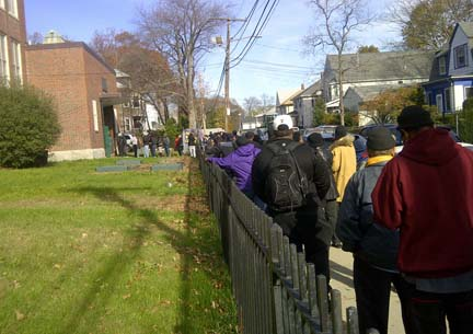 The Chittick School: Voters were lined up outside the huge double precinct on the Mattapan-Hyde Park line all day on Tuesday.