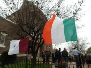 Community mourns: The flags of Ireland and County Galway flew outside St. Mark's Church on Dorchester Ave. this morning after the funeral Mass for murder victim Ciaran Conneely. Photo by Pat Tarantino